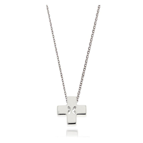 Mini Butterfly Silver Cross Pendant