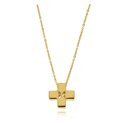 Mini Butterfly Vermeil Silver Cross Pendant