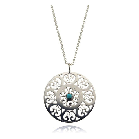 Talisman Silver Eye Pendant with Turquoise