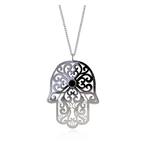 Talisman Large Silver Fatima's Hand Pendant with Onyx