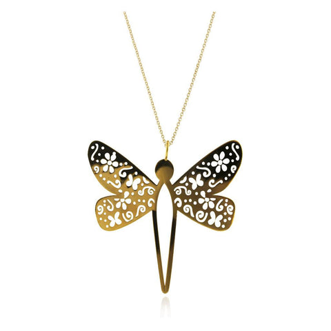 Large Vermeil Silver Dragonfly Pendant