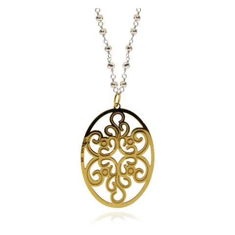 Arabesque Vermeil Silver Oval Pendant; Silver Chain and Pyrite