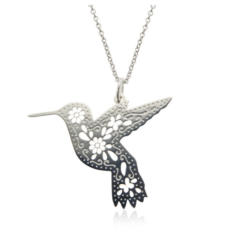 Mexicanized Hummingbird Sterling Silver Pendant