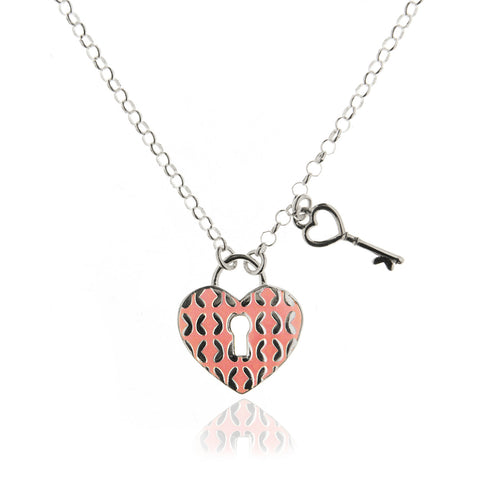 Sterling silver heart lock pendant with key charm and pink enamel sterling silver heart lock pendant with key charm and pink enamel tanya moss aloadofball Images