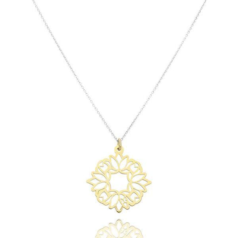 Zen Lotus Flower Sterling Silver Pendant With Vermeil