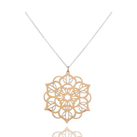 Zen Mandala Sterling Silver Large Pendant With Vermeil