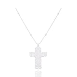 Sterling Silver Mexicanized Large Cross Pendant
