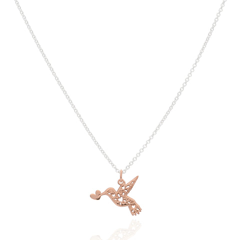 Catching Love Sterling Silver Hummingbird Pendant with Rose Gold Plated