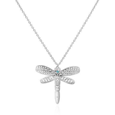 Mexicanized Mysticism Large Dragonfly Sterling Silver Pendadnt