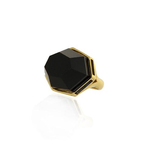 Vermeil Silver Ring with Black Agate