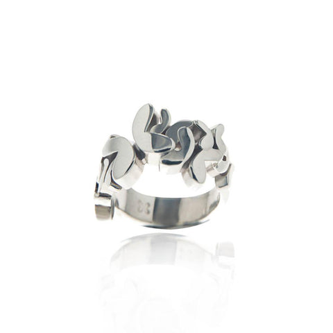 Multi Butterflies Silver Ring