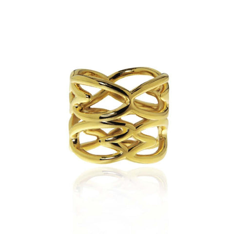 Double Cuore Vermeil Silver Ring