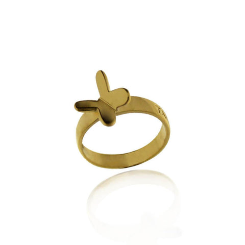 Vermeil Butterfly Silver Ring