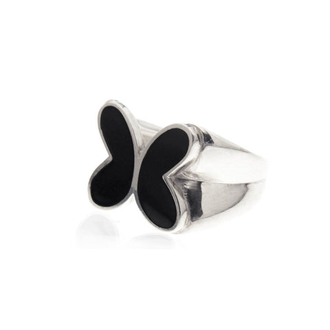 Butterfly Ring with Black Enamel Sterling Silver