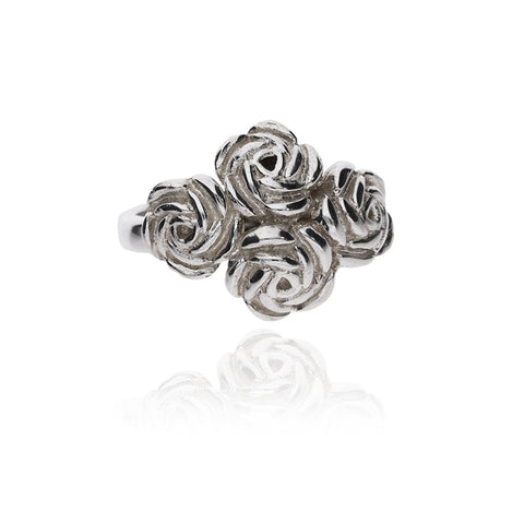Sterling Silver Roses Bouquet Ring
