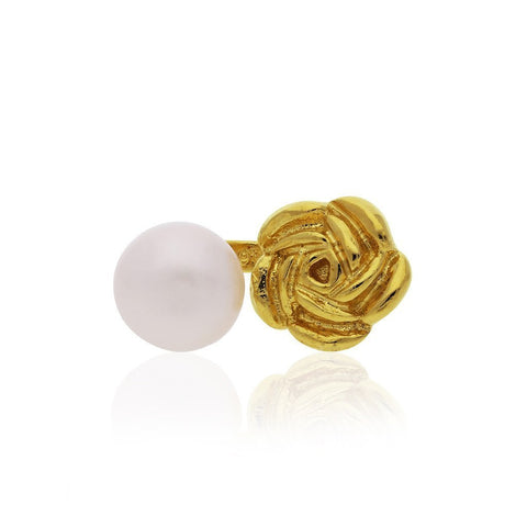 Vermeil Silver Bouquet Ring with Pearl