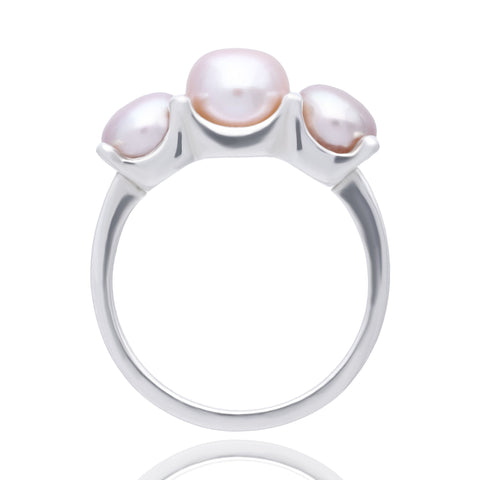 3 Pink Pearls ring size 5
