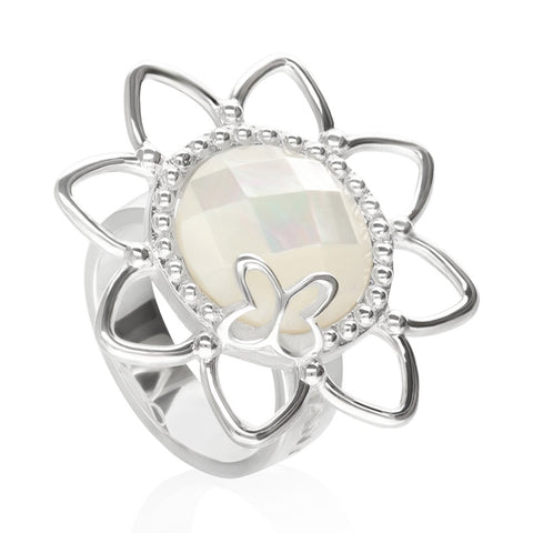 Sterling Silver Flora Ring with Mother of Pearl
