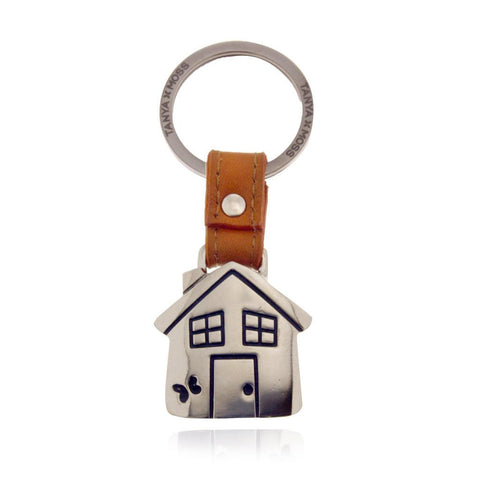 House Keychain with Orange Leather