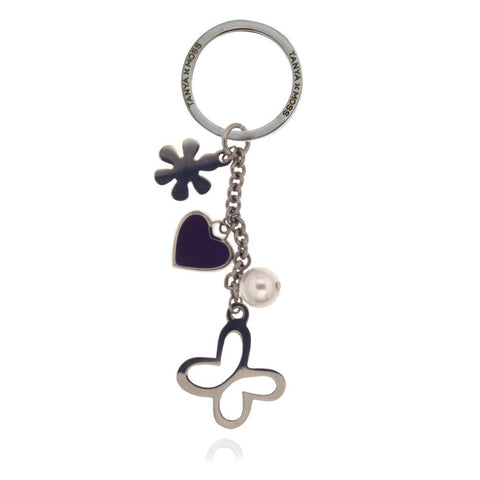Keychain with Butterfly and Heart Charms in a Chain