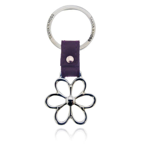 Flower Keychain with Purple Leather