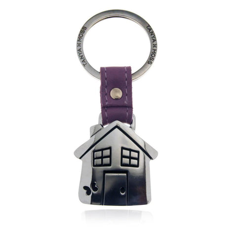 House Keychain with Lilac Leather