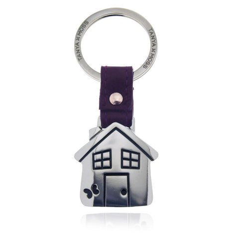 House Keychain with Purple Leather