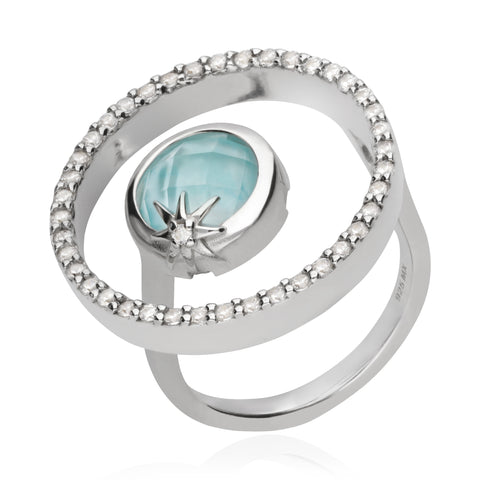 Cosmos Orbit Ring with Blue Mother of Pearl