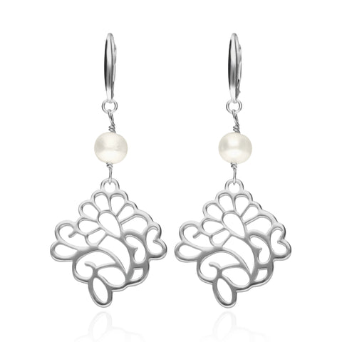 Oaxacan Flower Earrings with Pearls