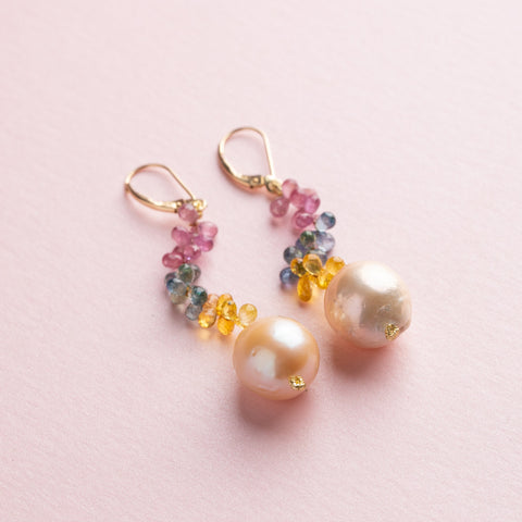 Long Earrings Multicolored Sapphire