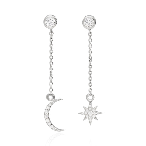 MOON AND STAR LONG EARRINGS