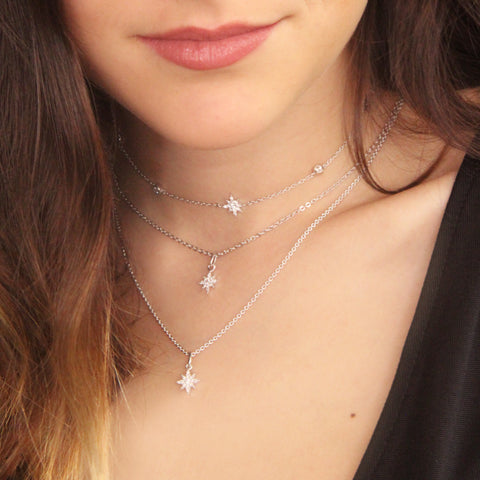 Star Pendant with Zirconia Pave