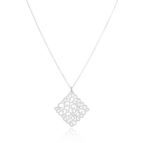 Sterling Silver Oaxacan Flower Pendant with Chain