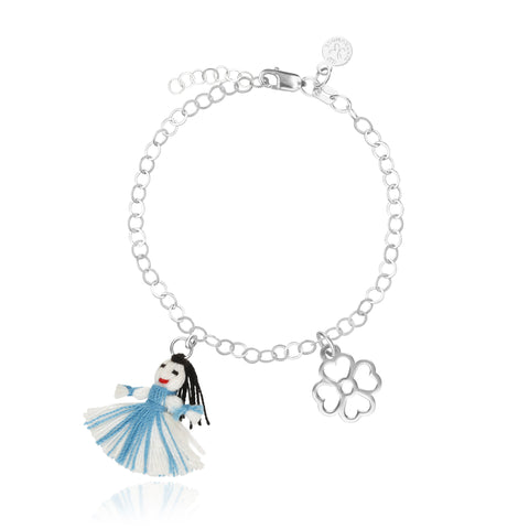 Flower Bracelet with Blue Oaxacan Thread Doll