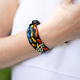Multicolored Embroidered Oaxacan Ribbon Bracelet with Flower Charm