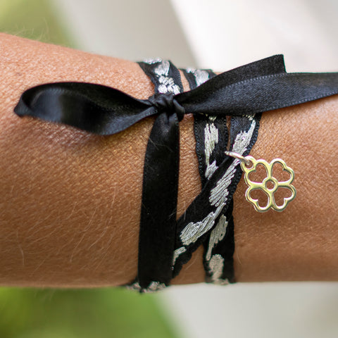 Silver and Black Embroidered Oaxacan Ribbon Bracelet with Flower Charm