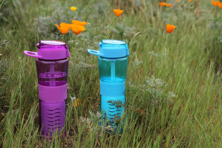 Filter Water Bottles by Sagan are available in orchid and blue.