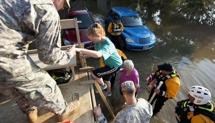 Army National Guard assist evacuees of Hurricane Harvey