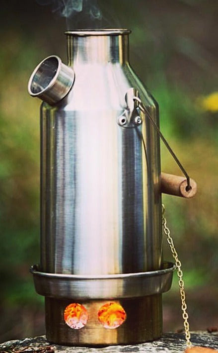 Best survival gear - camping kettle and camp stove - boils water fast, cooks food - Kelly Kettle.