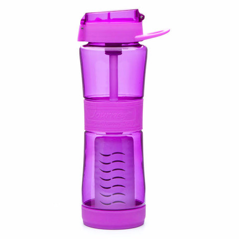 Filter water bottle removes bacteria, virus and protozoan. The Journey water bottle filter is a personal water bottle which filters any non salt water source into clean drinking water.