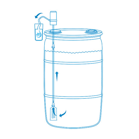 Sagan AquaDrum Water Filter System for removing and filtering water from a drum or barrel.