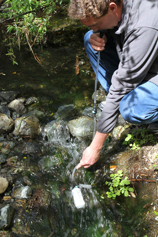 Water Filter Replacement for the XStream Straw water filter removes virus, bacteria, giardia, cryptosporidium and other toxin and is the best water filter straw you can buy. Take this water filter hiking, backpacking camping.  The Straw Water Filter comes with a handy pump which serves as a water filter dispenser to wash food, share water and even use for personal hygiene. The Straw Filter extends from two to four feet making it easy to drink filtered water from any non salt water source providing drinkable