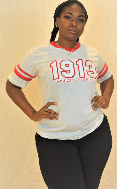 DST 1913 V Neck Red & White (LOF)