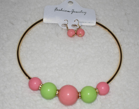 Pink and Green Balls Necklace Set