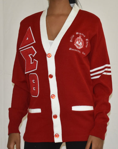 DST Cardigan Red with White Trim (Chenille Lettters)