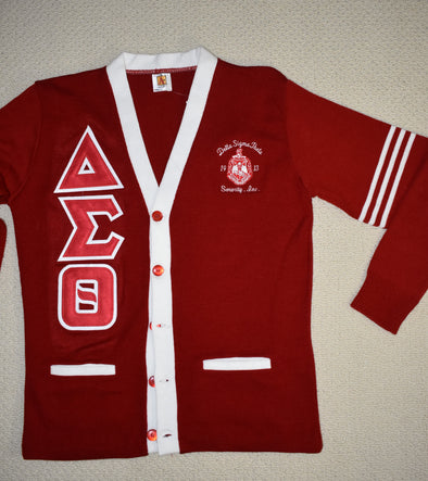 DST Cardigan Red & White w/Stripes (Twill Letters)