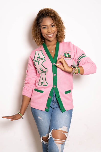 AKA Cardigan Pink & Green w/Stripes (Twill Letters)