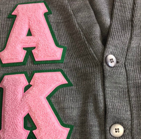 AKA Cardigan Chenille Letters