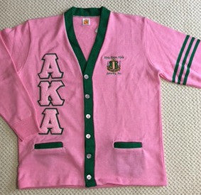AKA Cardigan Pink & Green w/Stripes (Chenille Letters)