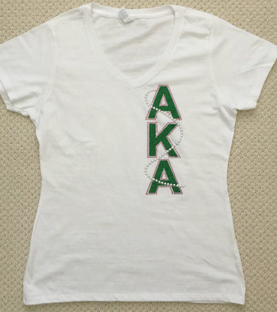 AKA  V neck Signature Pearl T-shirt